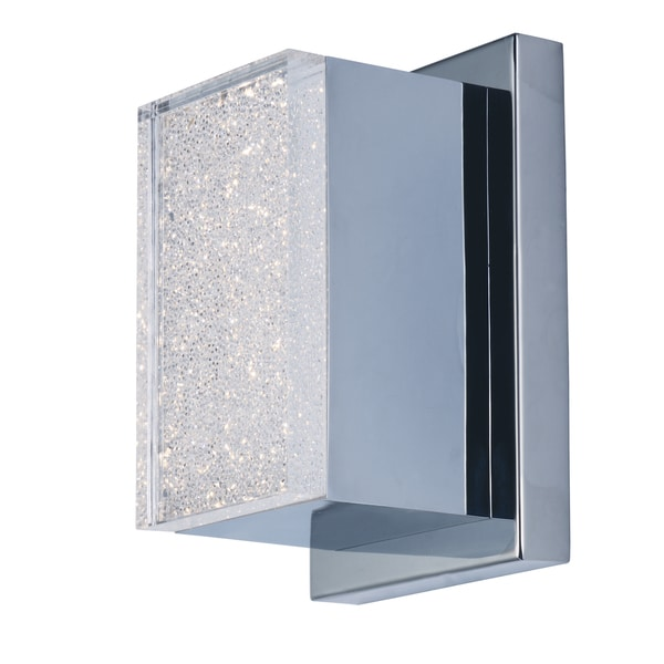 Pizzazz Silver Aluminum and Acrylic Sparkling Crystalline Acrylic Diffuser LED Wall Sconce 20467560