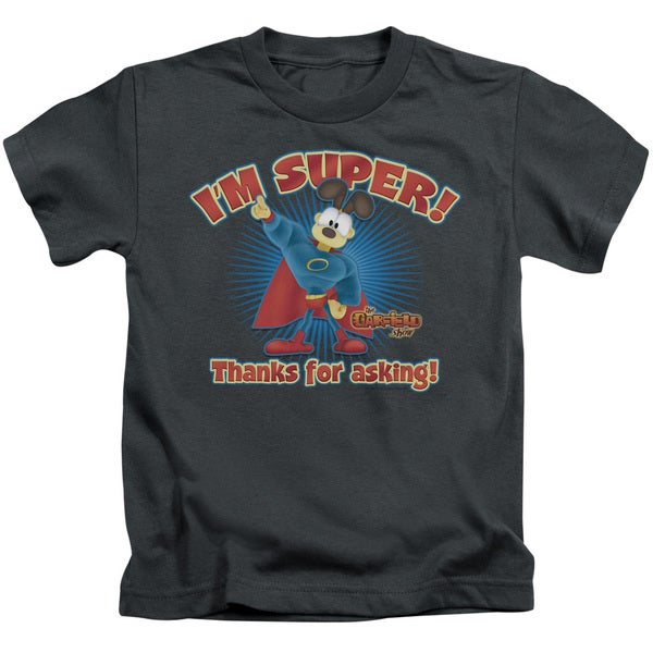 Garfield/Super Short Sleeve Juvenile Graphic T-Shirt in Charcoal