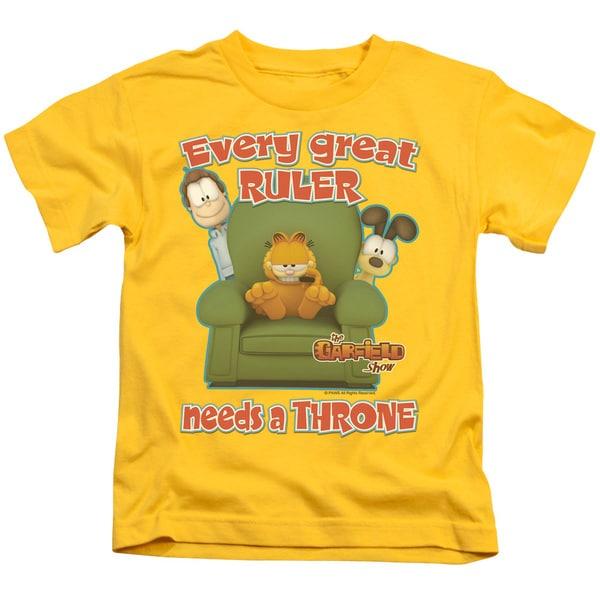 Garfield/Throne Short Sleeve Juvenile Graphic T-Shirt in Yellow