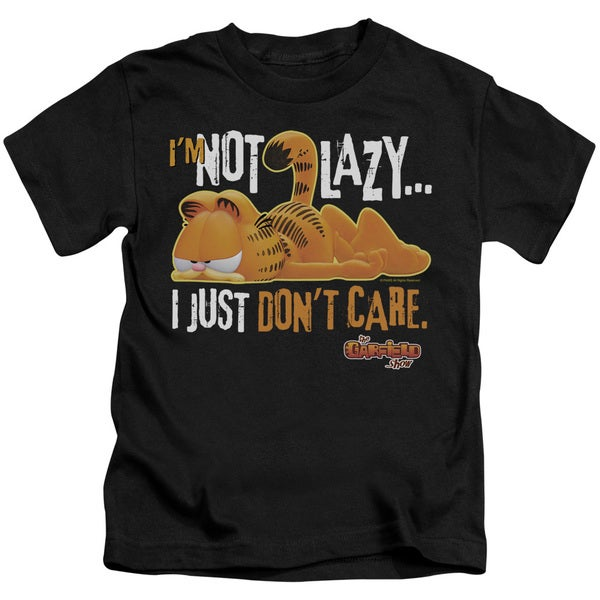 Garfield/Not Lazy Short Sleeve Juvenile Graphic T-Shirt in Black