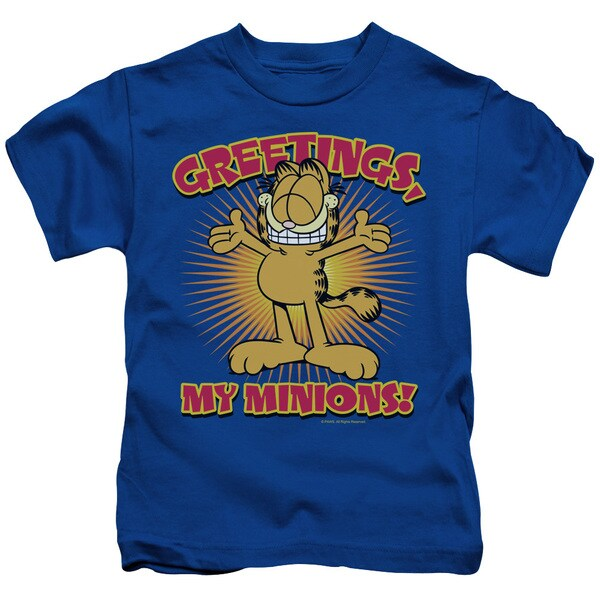 Garfield/Minions Short Sleeve Juvenile Graphic T-Shirt in Royal Blue