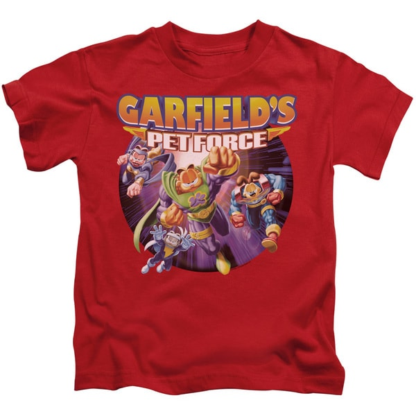 Garfield/Pet Force Four Short Sleeve Juvenile Graphic T-Shirt in Red