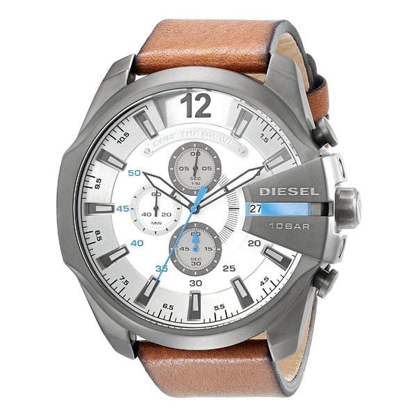 Diesel Men's DZ4280 Brown Leather Strap/White Dial Stainless Steel Quartz Watch