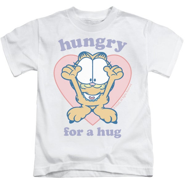 Garfield/Hungry For A Hug Short Sleeve Juvenile Graphic T-Shirt in White
