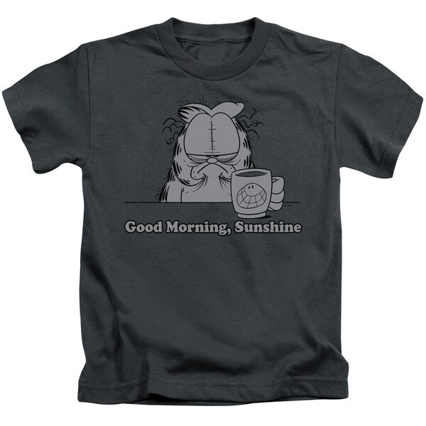 Garfield/Good Morning Sunshine Short Sleeve Juvenile Graphic T-Shirt in Charcoal