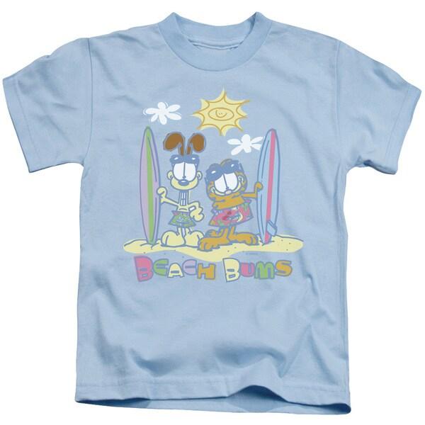 Garfield/Beach Bums Short Sleeve Juvenile Graphic T-Shirt in Light Blue
