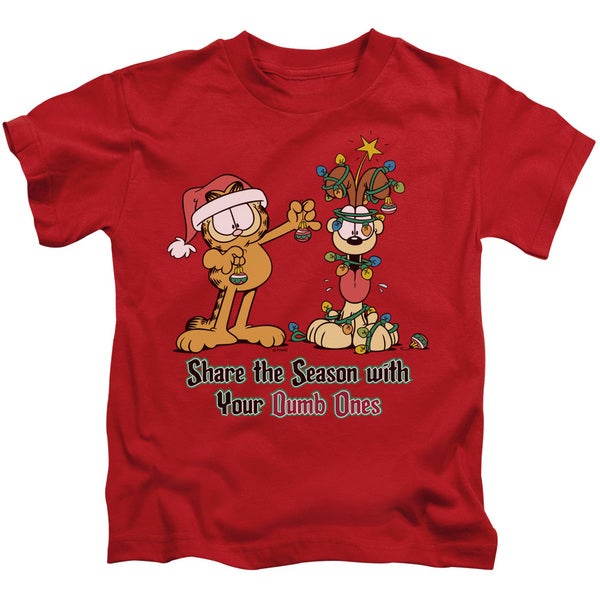 Garfield/Share The Season Short Sleeve Juvenile Graphic T-Shirt in Red