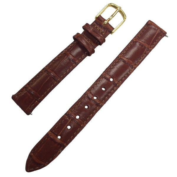 Brown Watch Strap Embossed Leather Watchband With Goldtone Buckle