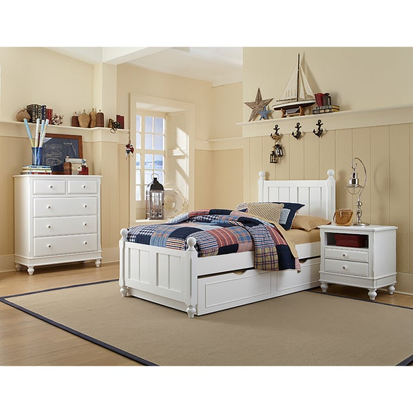 Lake House Kennedy Twin Bed with Trundle in White