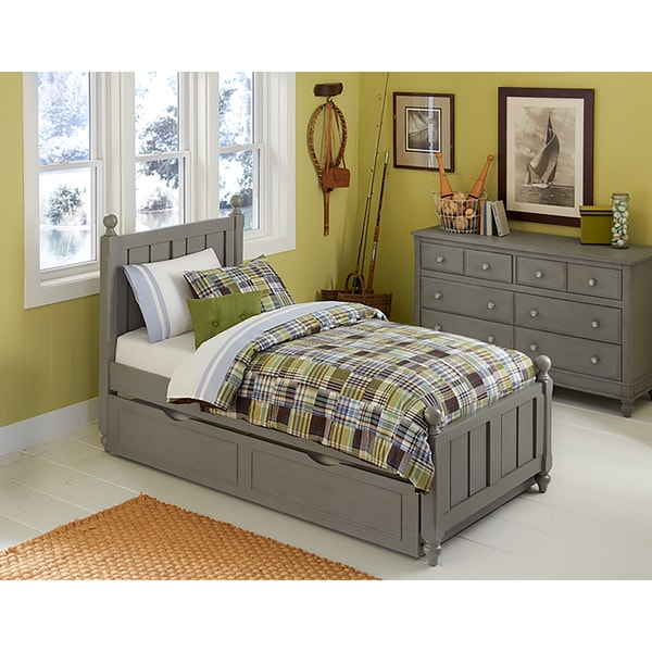 Lake House Kennedy Twin Bed with Trundle in Stone Grey