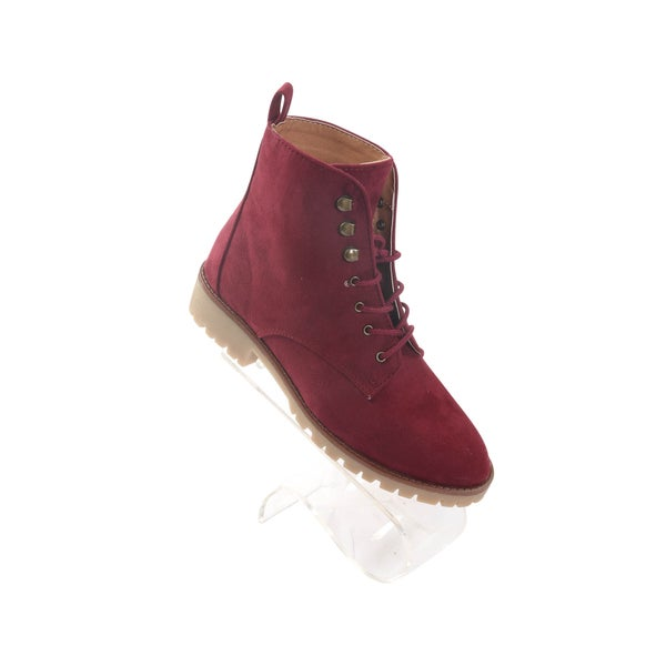 Hadari Women's Burgundy Severe Frontal Lace Suede Boot