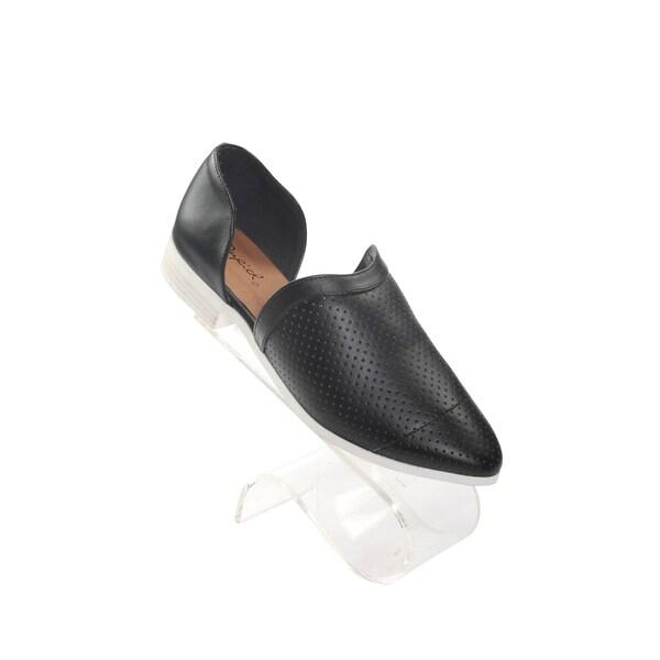Hadari Women's Black Tuxedo Pointy Flats with Open Side Slits