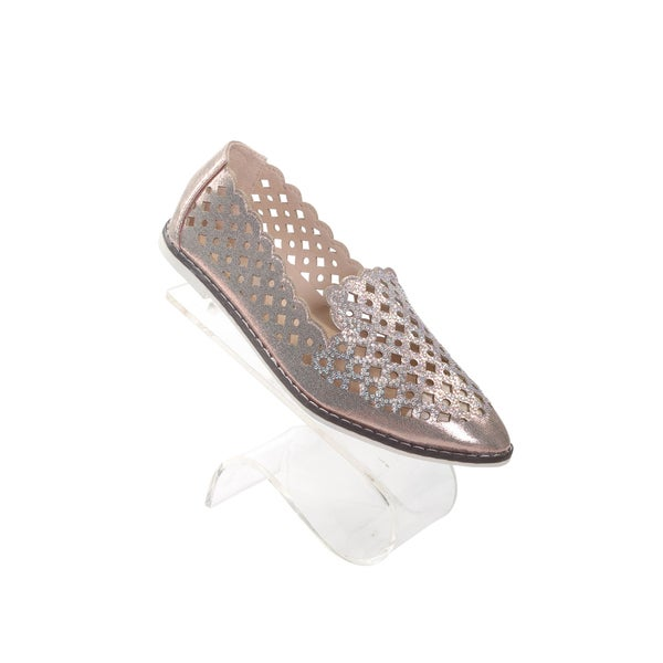 Hadari Womens Beige Slip on Pointy Flats with bedazzled front