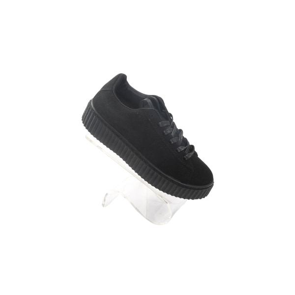 Hadari Womens Black Winnie Low Top Frontal Lace Suede Sneakers
