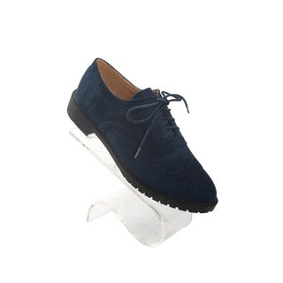 """Hadari Women's Navy Oxford Suede Flats with frontal lace with 1"""" Heel"""
