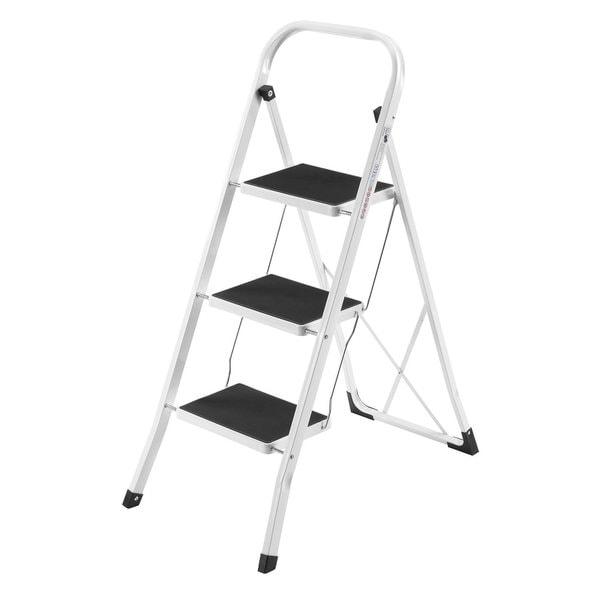 White Metal 3-step Heavy-duty Ladder