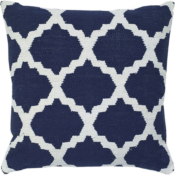 Navy Blue Decorative Woven Cotton Throw Pillow
