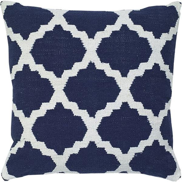 Navy Blue Decorative Woven Cotton Throw Pillow