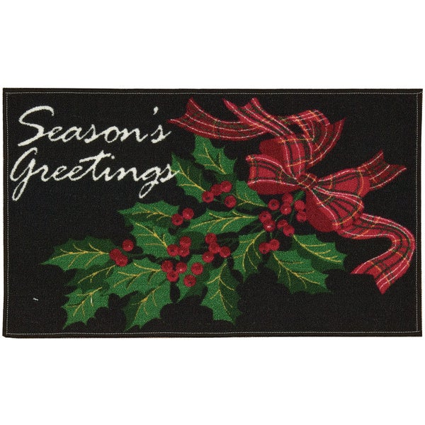 Nourison Essential Elements Seasons Greetings Black Accent Rug (1'5 x 2'4)