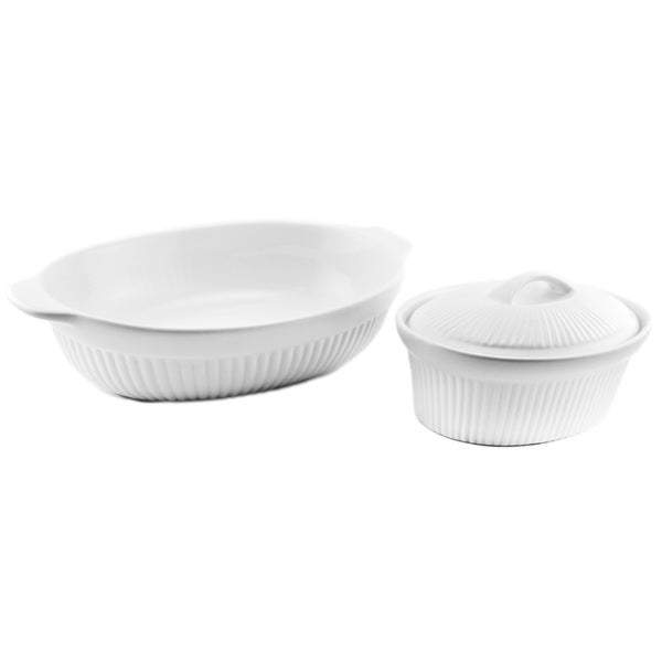 BergHoff Bianco White Ceramic Oval Baking Dishes (Pack of 2)