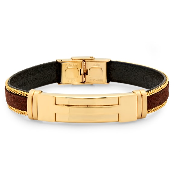 18k Gold-plated Brown Leather Bracelet