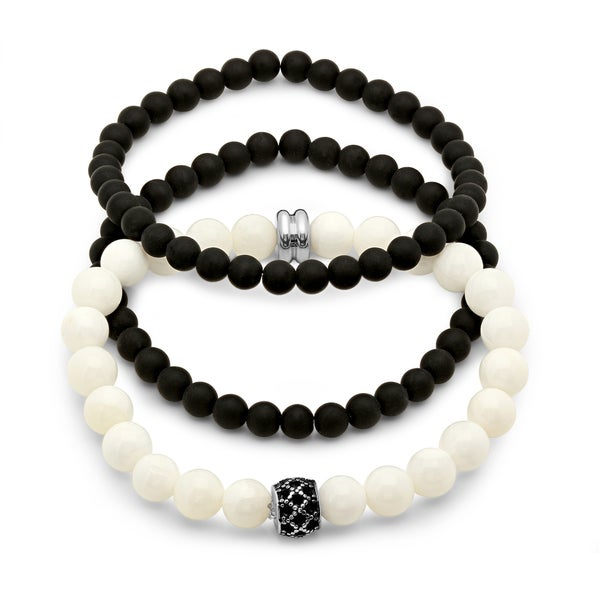 Black Lava, White Bead, and Stainless Steel Fashion Bracelets (Set of 3)