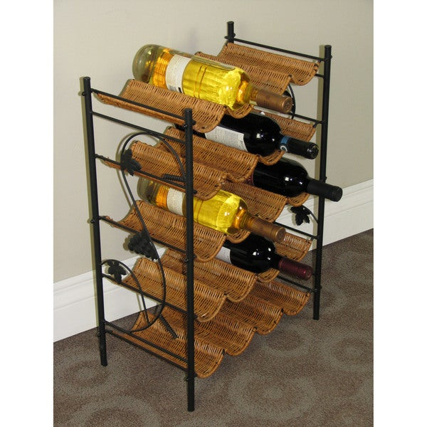 Black/Brown Metal Wicker Wine Rack 20481803
