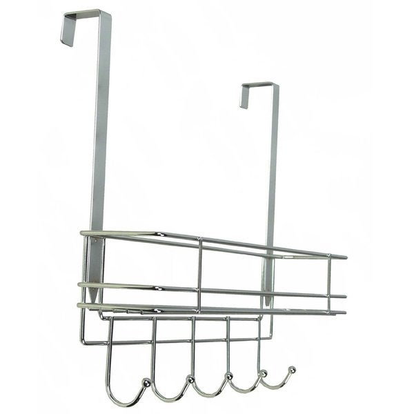 Over-door Chrome Metal Hook with Basket