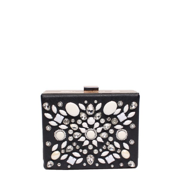 Nicole Lee Star Black Embellished Hard Frame Clutch