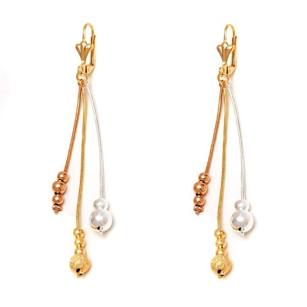 Peermont Jewelry 18k Gold-plated 3-tone Snake Chain Triple-ball Drop Earrings