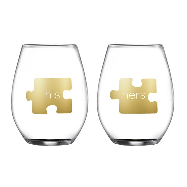 Fifth Avenue Crystal 'His and Her' Puzzle Piece Stemless Glasses (Set of 2) 20483109