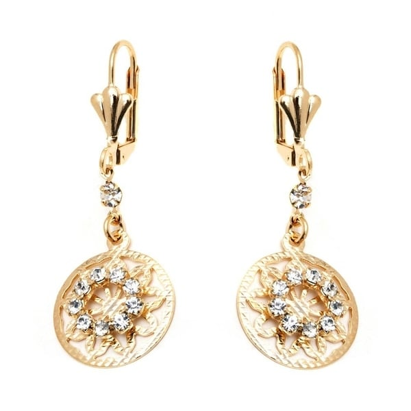 Goldplated Gold and Clear Crystal Round Drop Earrings 20483125