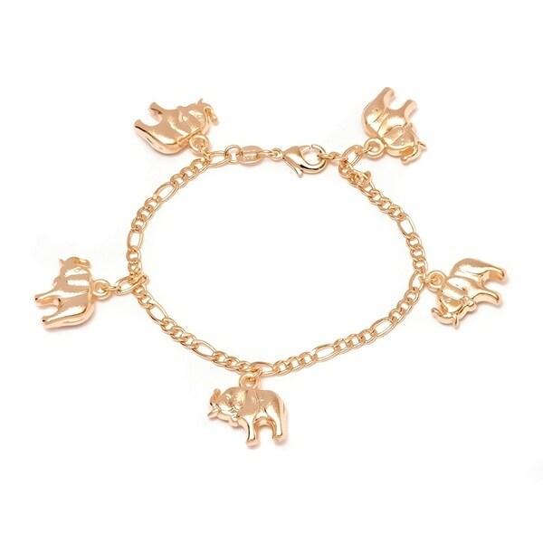 Peermont Jewelry 18k Goldplated Elephant Charm Bracelet