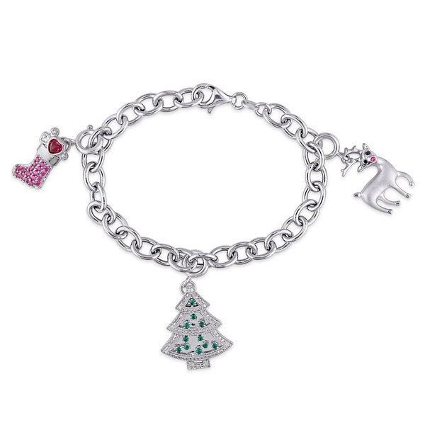 Created Ruby Created White Sapphire Created Emerald and Diamond 3-Charm Christmas Bracelet in Sterling Silver by Miadora