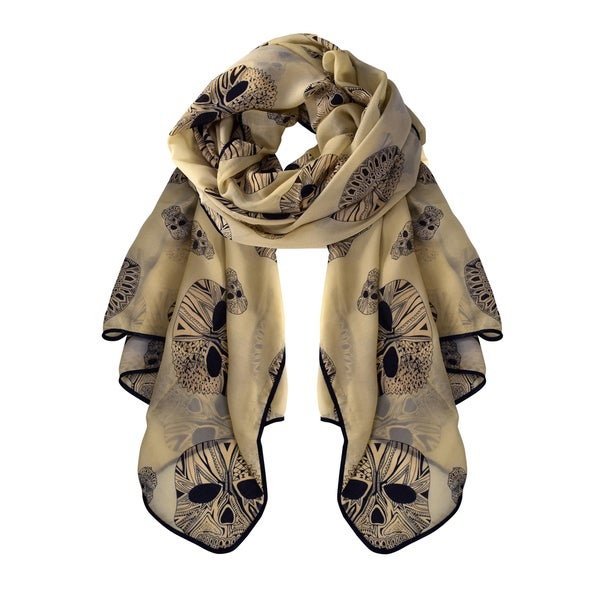 Peach Couture Chiffon Feel Aztec Skull Scarf Wrap Shawl with Slim Silk-feel Black Border