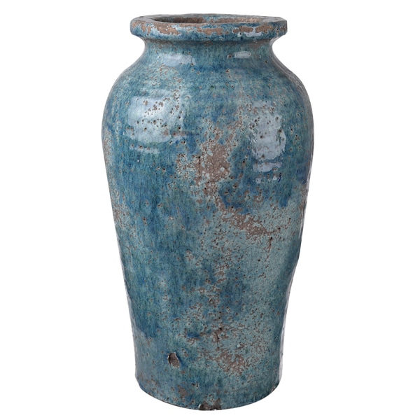 Blue Clay 8-inch Diameter x 14.5-inch High Vase