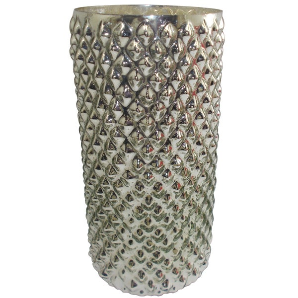 12-inch Tall x 6-inch Diameter Mercury Glass Vase
