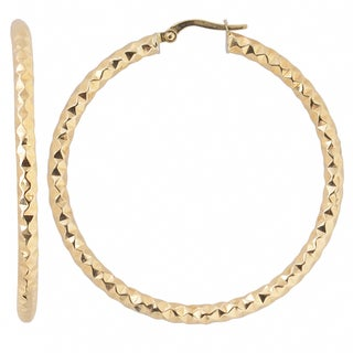 Fremada Italian 14k Yellow Gold 3x40-mm Diamond-cut Bold Round Hoop Earrings