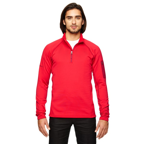 Stretch Men's Fleece Team Red Half-Zip