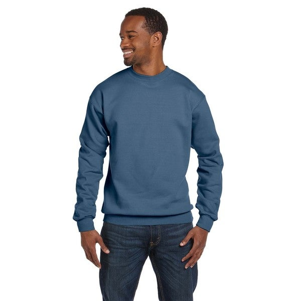Comfortblend Ecosmart 50/50 Fleece Men's Crew-Neck Denim Blue Sweater