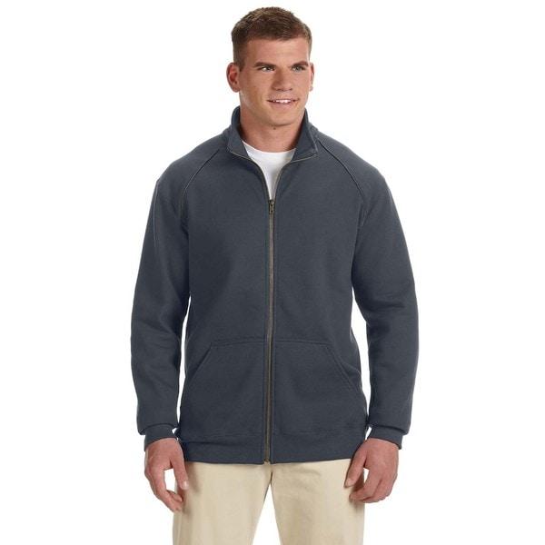 Premium Cotton 9-Ounce Fleece Full-Zip Men's Big and Tall Charcoal Jacket 20484598