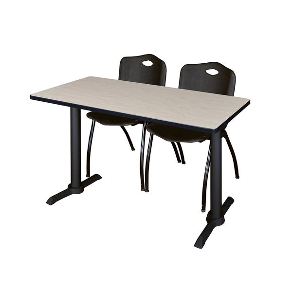 Cain Training Table with 2 Black M Stack Chairs