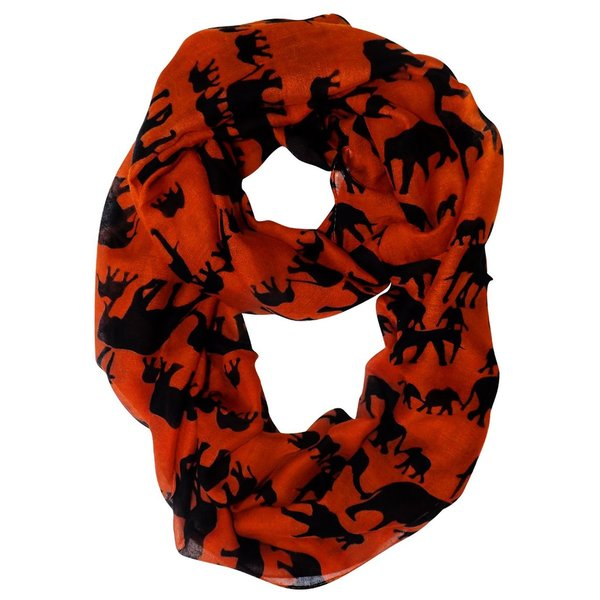 Peach Couture Trendy Lightweight Animal Print Elephant Black/Orange Wrap Scarf Shawl