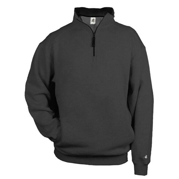 Quarter Zip Fleece Men's Pullover Charcoal Sweater 20485321