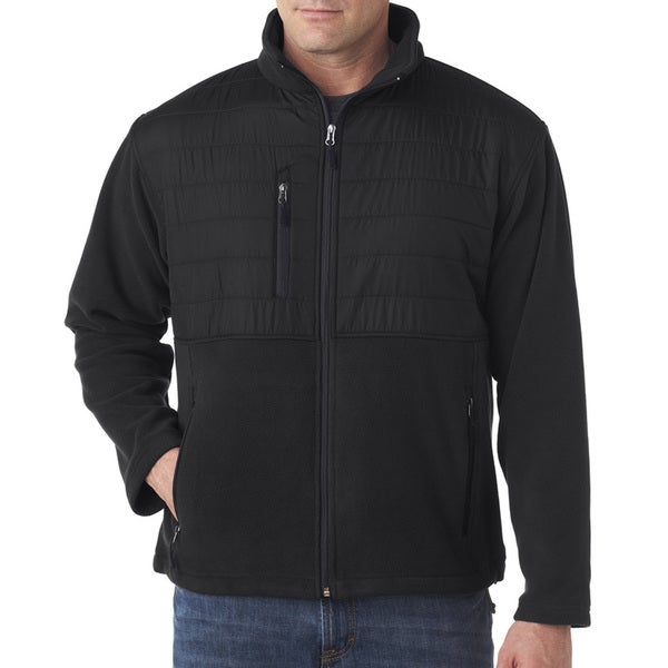 Fleece Men's Big and Tall With Quilted Yoke Overlay Black Jacket