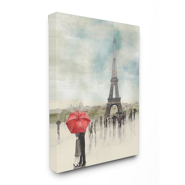 'Rainy Day Lovers in Paris' Multicolored Stretched Canvas Wall Art