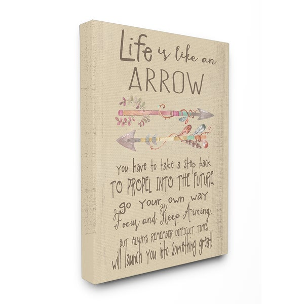 'Life is Like an Arrow' Icon Inspirational Typography Stretched Canvas Wall Art