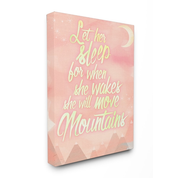 Stupell 'Let Her Sleep' Pink Watercolor Mountains Stretched Canvas Wall Art
