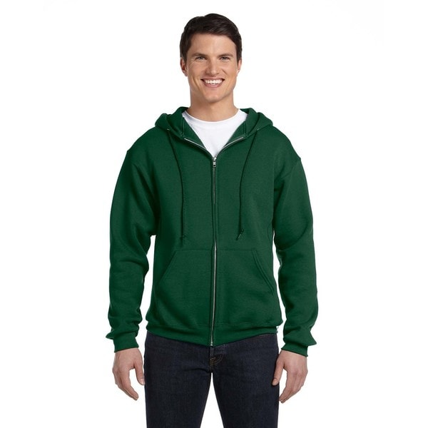 Dri-Power Men's Big and Tall Fleece Dark Green Full-Zip Hood