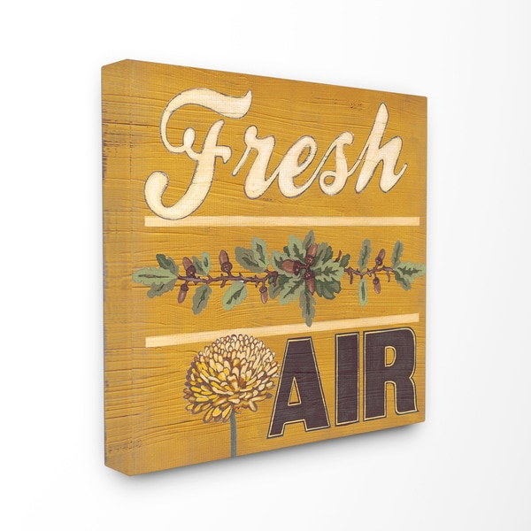 'Distressed Fresh Air Yellow with Pine Cones' Stretched Canvas Wall Art